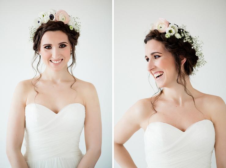 1118fbbec Aby účes ešte viac vynikol, použili sme výraznú kvetinovú čelenku zo živých  kvetov. Pri tomto type účesu odporúčame minimalistickejšie šaty.